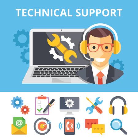 Wsparcie techniczne płaskim płaskie ikony ilustracja i wsparcie techniczne ustanowione Ilustracje wektorowe
