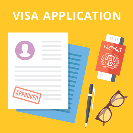 passport: application flat illustration concept.