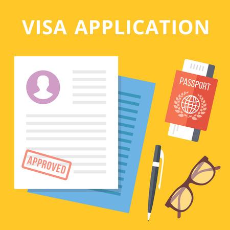 pasaporte: Ilustración del concepto de aplicación plana. Vectores