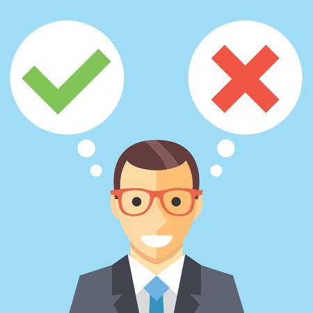 toma de decisiones: El hombre y las burbujas del discurso con marcas de verificación plana ilustración. La toma de decisiones concepto