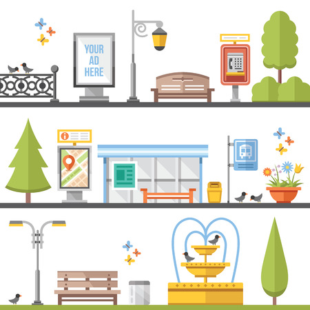 city: City elements, outdoor elements and city scenes flat illustrations set