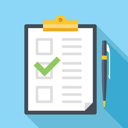 checklist: Vector clipboard with pen and checklist icon