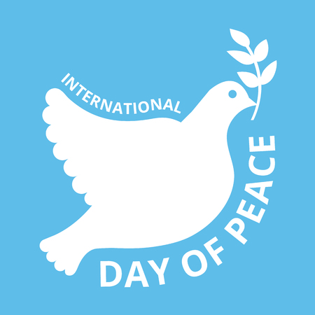 peace concept: International day of peace logo concept. Beautiful pigeon with branch