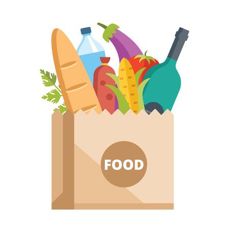 Papieren zak vol voedsel. Grocery leveringsconcept