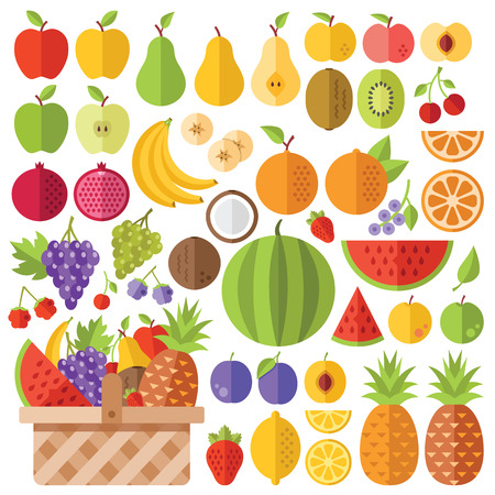 apples basket: Flat fruits icons set. Creative vector flat icons