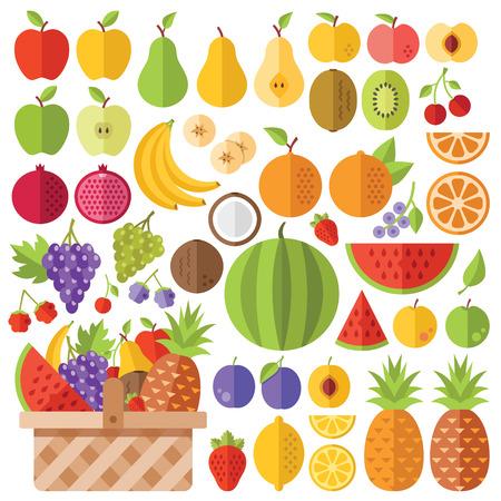 canasta de frutas: Frutas planas iconos conjunto. Iconos planos vectoriales Creativo Vectores