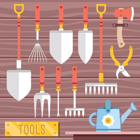 weeder: Gardening tools icons set. Hanging gardening equipment