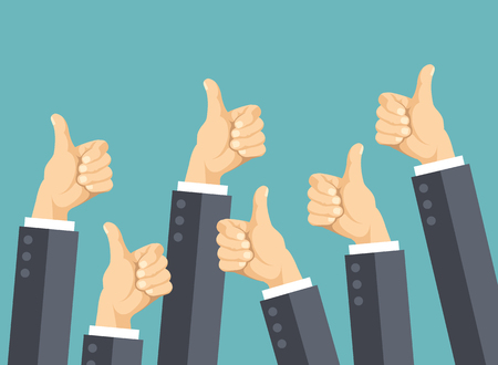 happy customer: Many thumbs up. Social network likes, approval, customers feedback concept