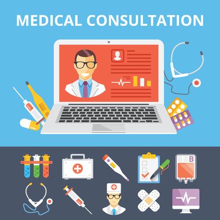 consulta m�dica: Consulta m�dica ilustraci�n plana y planos iconos m�dicos fijaron