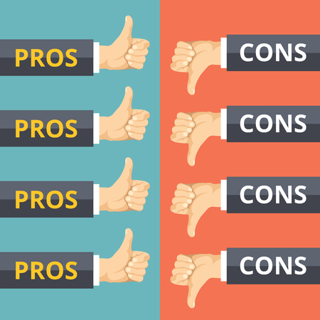 cons: Hands with thumbs up and thumbs down. Pros and cons concept