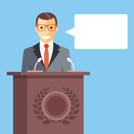 Speaker at rostrum with speech bubble. Creative vector illustration