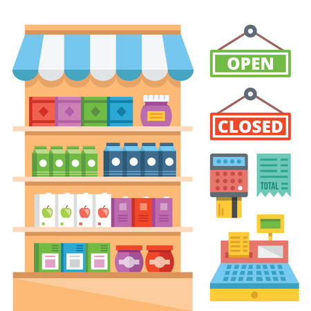 Supermarket shelves and general store equipment flat illustration concept