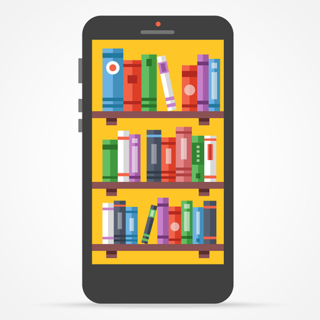 library shelf: Digital online library on smartphone. Distance education with modern technology flat illustration Illustration