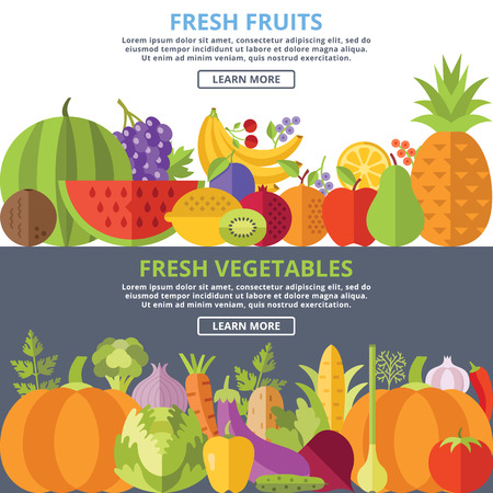 bell tomato: Fresh fruits and vegetables flat illustration concepts set Illustration