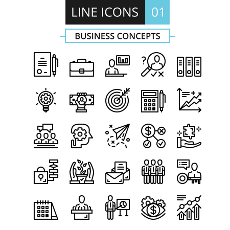 Thin line icons set. Flat design concept for business, digital marketing, team management, business presentation, corporate strategy, progress Vettoriali