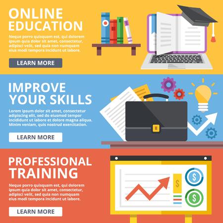 Online onderwijs, verbetering van vaardigheden, beroepsopleiding vlakke illustratie concepten set