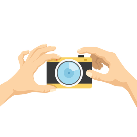 hand hold: Hands hold camera and taking photo, selfie flat illustration concept