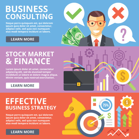 mobile banking: Business consulting, stock market, finance, business strategy flat illustration concept set