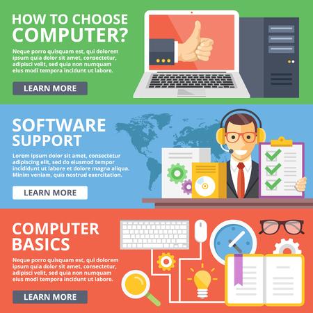 コンピューター、ソフトウェア ・ サポート、コンピューター基本フラット イラスト概念セットの選び方