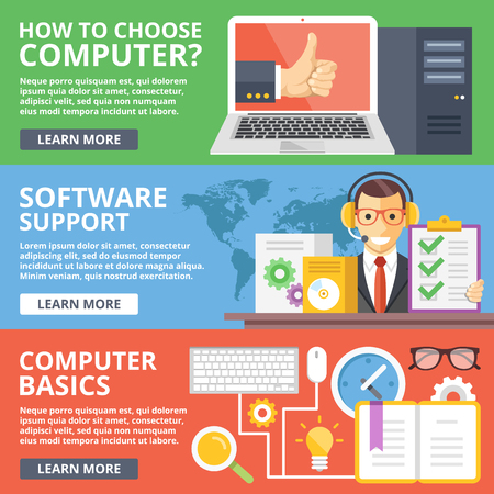 people laptop: How to choose computer, software support, computer basics flat illustration concepts set