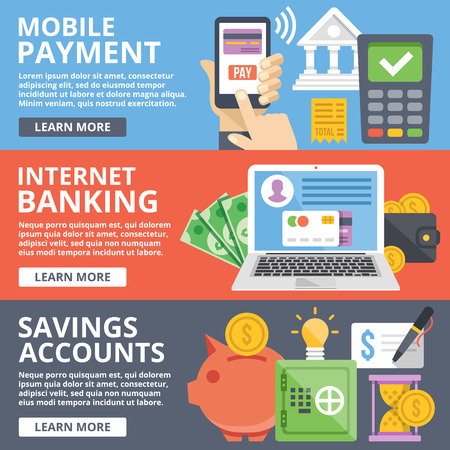 business savings: Mobile payment, internet banking, business, savings accounts flat illustration concepts set