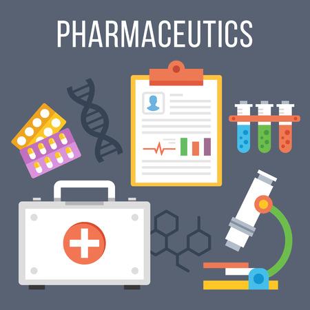 pharmaceutics: Pharmaceutics, modern technology research flat illustration concept Illustration