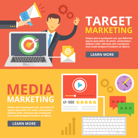 marketing icon: Target marketing, media marketing flat illustration abstract concepts set Illustration