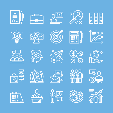 Dunne lijn pictogrammen instellen voor het bedrijfsleven, de strategie, management, teamwork, marketing, financiën, planning, etc