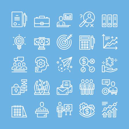 strategy: Iconos de línea delgada para los negocios, estrategia, gestión, trabajo en equipo, marketing, finanzas, planificación, etc.
