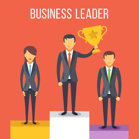 liderazgo empresarial: Liderazgo. La gente en el pedestal. Hombre de negocios con copa de oro en su mano