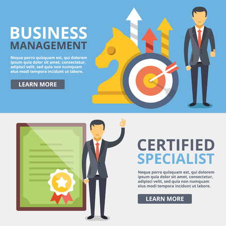 company background: Business management, certified specialist flat illustration concepts set Illustration