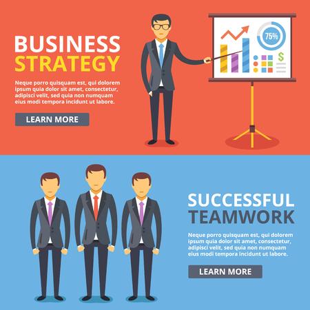 seminar: Business strategy, successful teamwork flat illustration concepts set