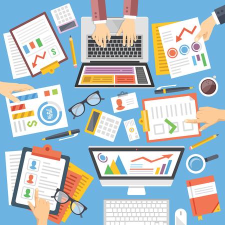 strategy: Negocios, estrategia, planificación, trabajo en equipo, análisis, consultoría diseño plano Ilustración conjunto Vectores