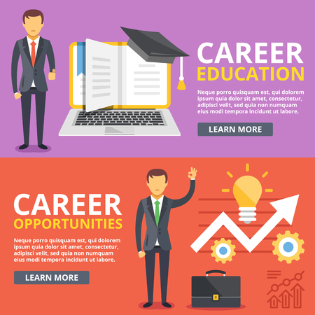 path: Career education, career opportunities flat illustration concepts set