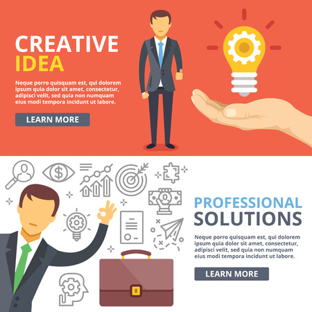 business solution: Creative idea, professional solutions flat illustration abstract concepts set Illustration