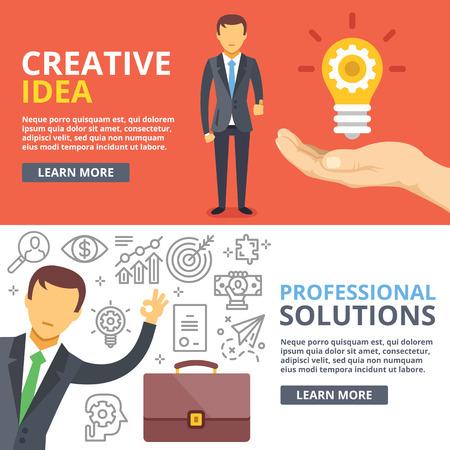 Idea creativa, soluciones profesionales ilustración plana conceptos abstractos Conjunto