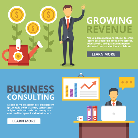 Growing revenue, business consulting flat illustration abstract concepts set Illustration