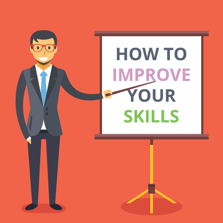 improvement: Man and presentation board with phrase: how to improve your skills