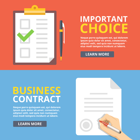 green check mark: Important choice, business contract flat illustration concepts set