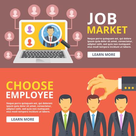 求人市場は、従業員を選択イラスト セットをフラットします。手は、人々 のグループから労働者を選ぶ