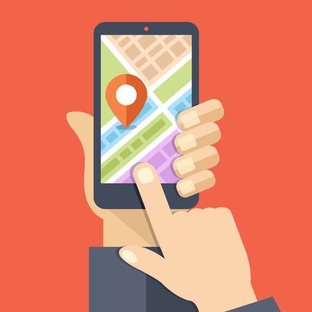 navegacion: La mano sostiene smartphone con mapa de la ciudad de navegador GPS en la pantalla del smartphone