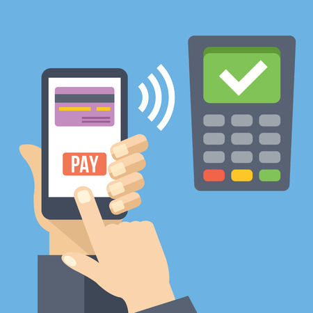 Hand with smartphone using mobile banking and mobile payment service