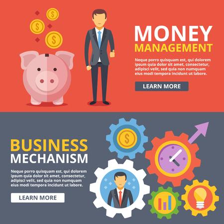 GERENTE: La administración del dinero, el mecanismo de negocio plana ilustración conceptos abstractos establecido Vectores