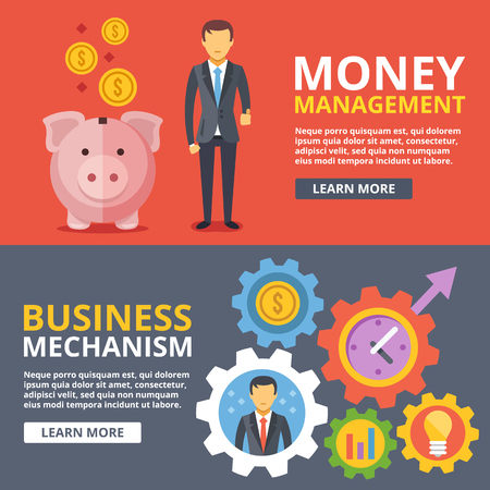 manager: Money management, business mechanism flat illustration abstract concepts set Illustration
