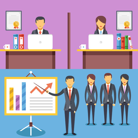 affari: lavoro ufficio, presentazione aziendale, illustrazione piatta incontro di lavoro concetti astratti set Vettoriali