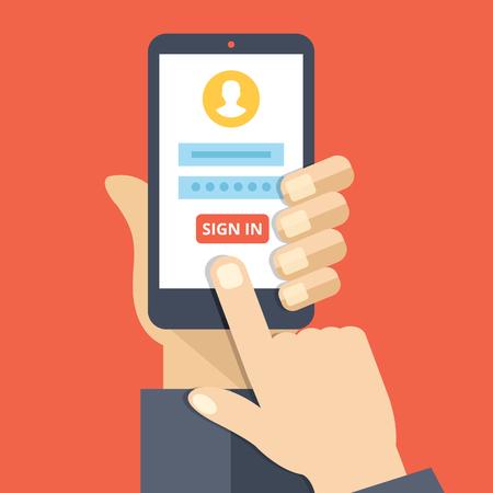 the finger: Regístrate en la página en la pantalla del smartphone. Asimiento de la mano smartphone, dedo toque botón Iniciar sesión. Cuenta móvil