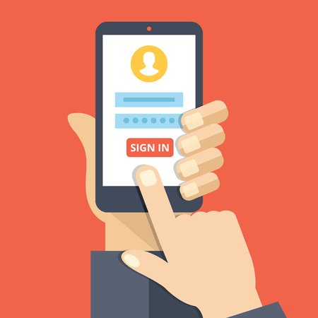 profil: Zaloguj się strony, na ekranie smartfonu. Ręcznie posiadać smartfon, palec dotykowy przycisk Zaloguj się. Konto mobilna