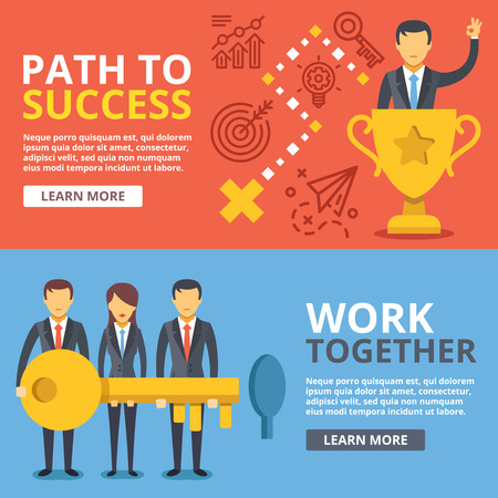 key hole: Path to success. work together, team work flat illustration set