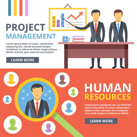 consulting services: Project management, digital marketing, human resources flat illustration set Illustration