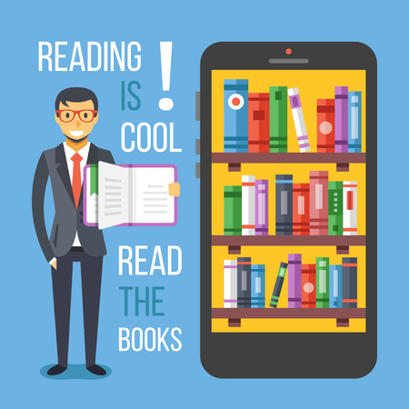 book vector: Man hold book and smartphone with bookshelves. Read the books concept